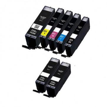 7 Multipack Canon PGI-550XL BK & CLI-551XL BK/C/M/Y High Yield Compatible Ink Cartridges. Includes 3 Photo Black, 1 Black, 1 Cyan, 1 Magenta, 1 Yellow