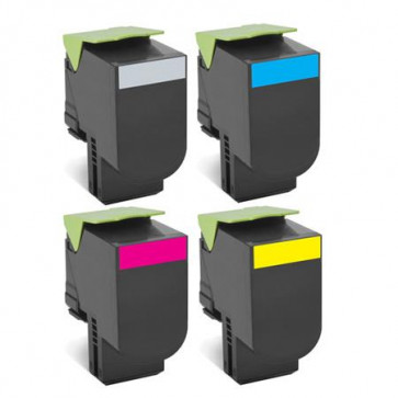 4 Multipack Lexmark 80C2SK0 High Quality Remanufactured Laser Toners. Includes 1 Black, 1 Cyan, 1 Magenta, 1 Yellow
