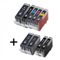 9 Multipack Canon PGI-5 BK & CLI-8 C/M/Y High Quality Compatible Ink Cartridges. Includes 3 Photo Black, 3 Black, 1 Cyan, 1 Magenta, 1 Yellow