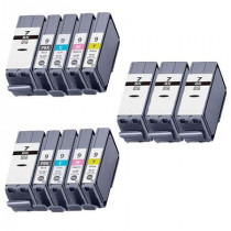 13 Multipack Canon PGI-7 BK & PGI-9 PBK/C/M/Y High Quality Compatible Ink Cartridges. Includes 5 Black, 2 Photo Black, 2 Cyan, 2 Magenta, 2 Yellow