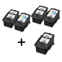 5 Multipack Canon PG-512 BK & CL-513 CL High Quality Remanufactured Ink Cartridges. Includes 3 Black, 2 Colour