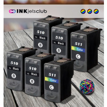 6 Multipack Canon PG-510 BK & CL-511 CL High Quality Remanufactured Ink Cartridges. Includes 4 Black, 2 Colour