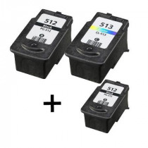 3 Multipack Canon PG-512 BK & CL-513 CL High Quality Remanufactured Ink Cartridges. Includes 2 Black, 1 Colour