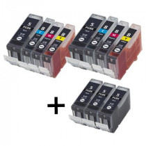 11 Multipack Canon PGI-5 BK & CLI-8 C/M/Y High Quality Compatible Ink Cartridges. Includes 5 Photo Black, 2 Cyan, 2 Magenta, 2 Yellow