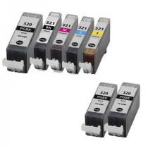 7 Multipack Canon PGI-520 BK & CLI-521 BK/C/M/Y High Quality Compatible Ink Cartridges. Includes 3 Photo Black, 1 Black, 1 Cyan, 1 Magenta, 1 Yellow