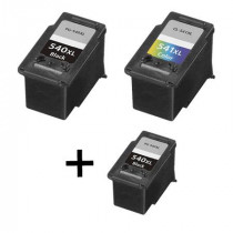 3 Multipack Canon PG-540 XL / CL-541 XL BK/CL High Yield Remanufactured Ink Cartridges. Includes 2 Black, 1 Colour