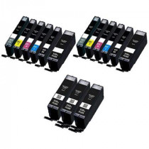 15 Multipack Canon PGI-550XL BK & CLI-551XL BK/C/M/Y/GY High Yield Compatible Ink Cartridges. Includes 5 Photo Black, 2 Black, 2 Cyan, 2 Magenta, 2 Yellow, 2 Grey