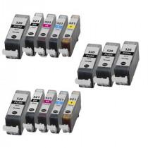 13 Multipack Canon PGI-520 BK & CLI-521 BK/C/M/Y High Quality Compatible Ink Cartridges. Includes 5 Photo Black, 2 Black, 2 Cyan, 2 Magenta, 2 Yellow