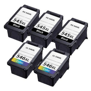 5 Multipack Canon PG-545XL BK & CL-546XL CL High Yield Remanufactured Ink Cartridges. Includes 3 Black, 2 Colour