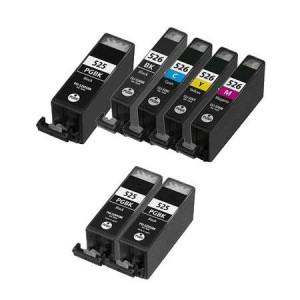 7 Multipack Canon PGI-525 BK & CLI-526 BK/C/M/Y High Quality Compatible Ink Cartridges. Includes 3 Photo Black, 1 Black, 1 Cyan, 1 Magenta, 1 Yellow