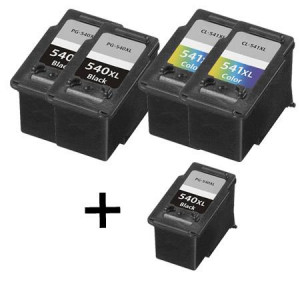 5 Multipack Canon PG-540XL/CL-541XL BK/CL High Yield Remanufactured Ink Cartridges. Includes 3 Black, 2 Colour